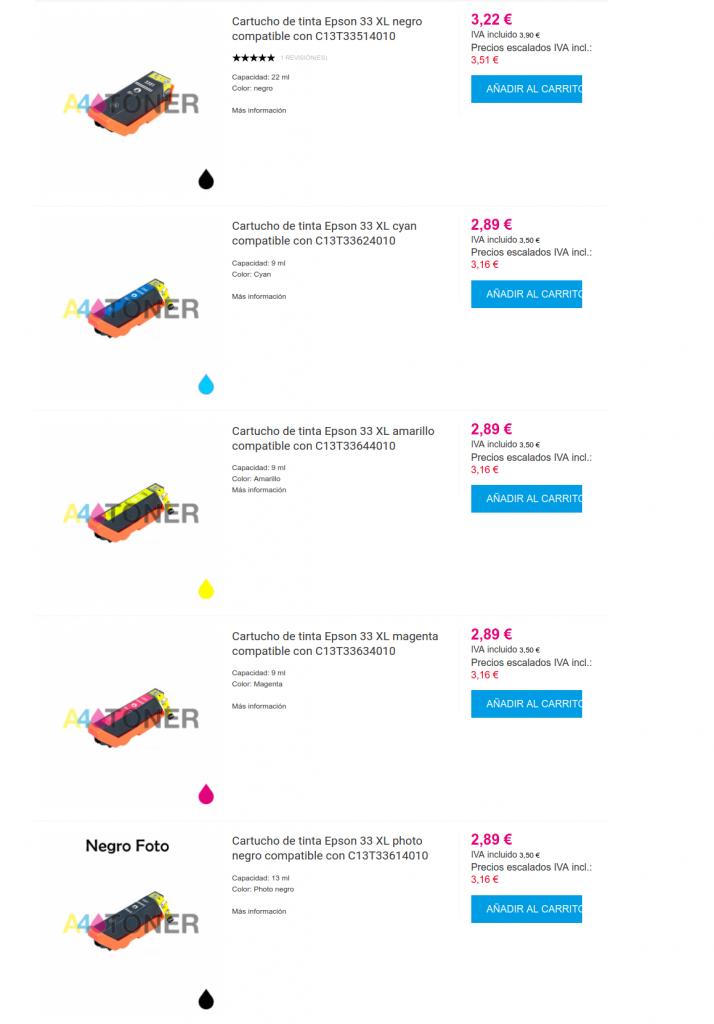 Tinta Epson 33 y Epson 33XL compatibles
