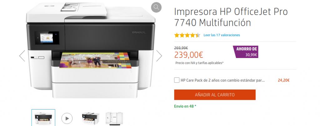precio HP Officejet Pro 7740 Wide Format