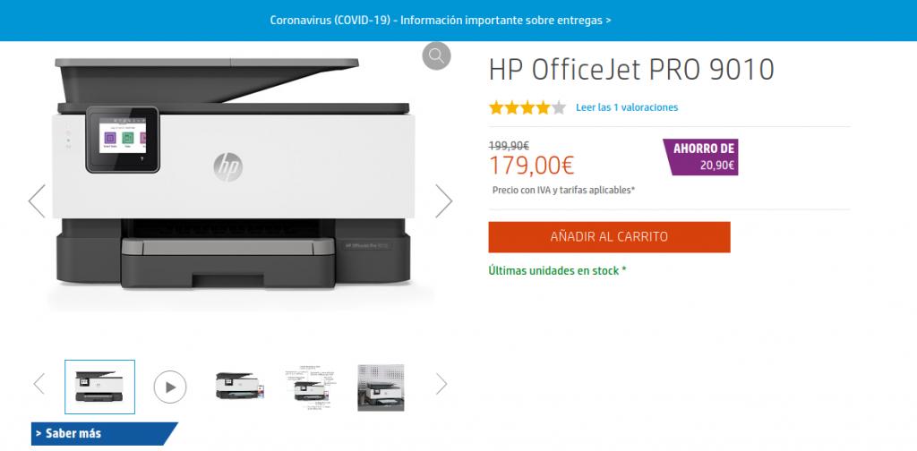 HP OfficeJet PRO 9010 Precio