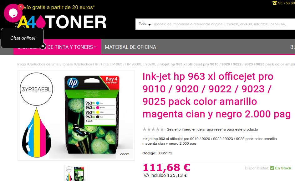 Precio cartuchos de tinta para la impresora HP OfficeJet Pro 9010