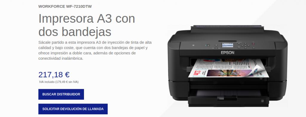 Precio impresora WorkForce WF-7210DTW