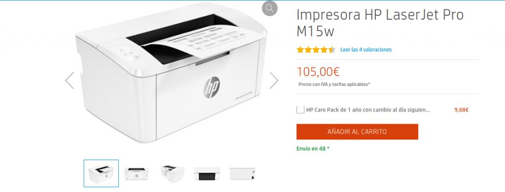 precio Impresora HP LaserJet Pro M15w