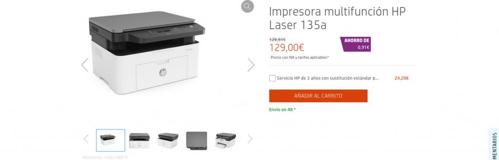 precio Impresora multifunción HP Laser 135a