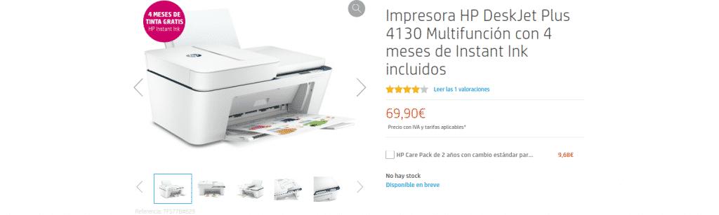 Precio Impresora HP DeskJet Plus 4130