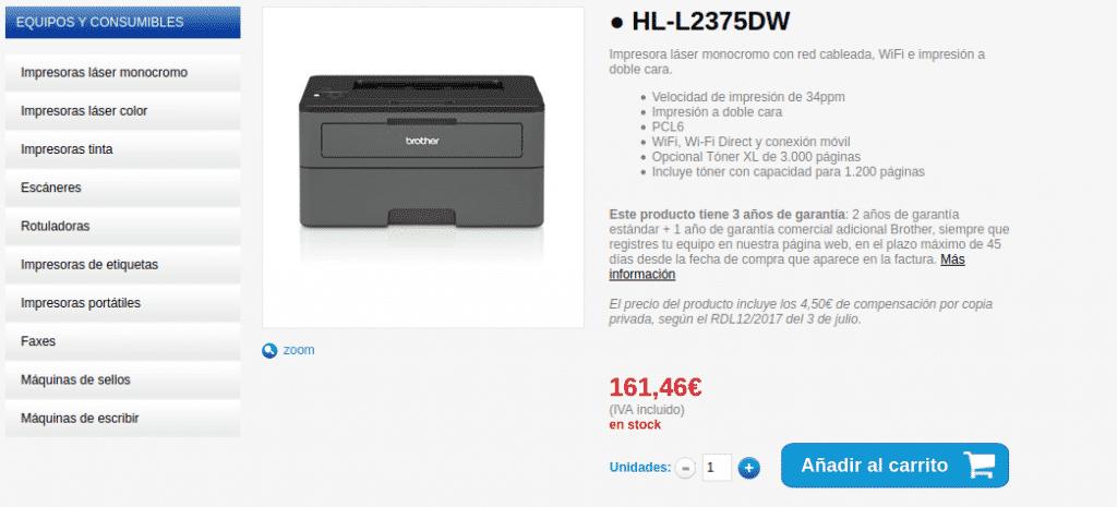 Precio impresora Láser Monocromo HL-L2375DW
