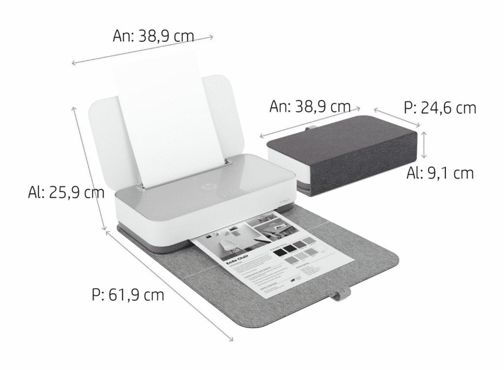 tamaño impresora HP Tango X