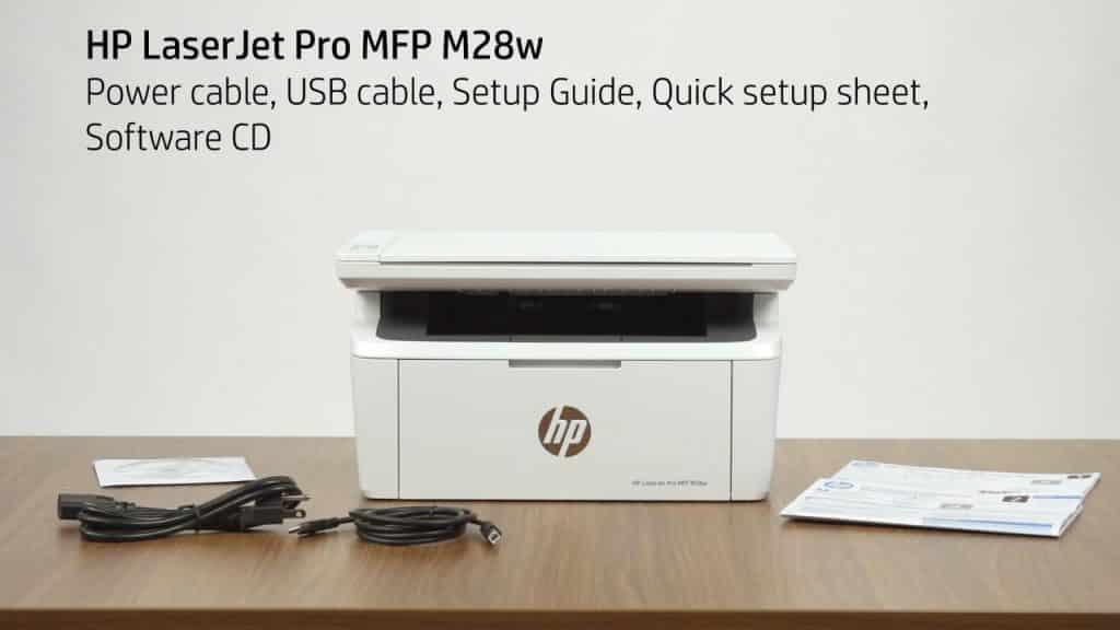 impresora LaserJet Pro M28w que contiene