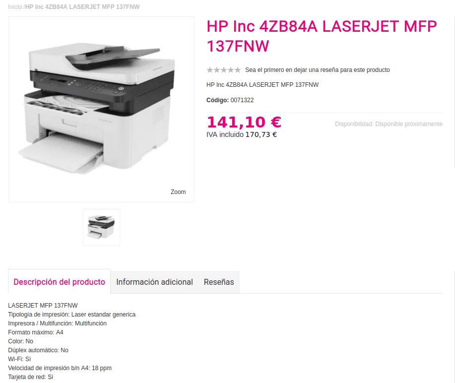 Precio hp LASERJET MFP 137FNW