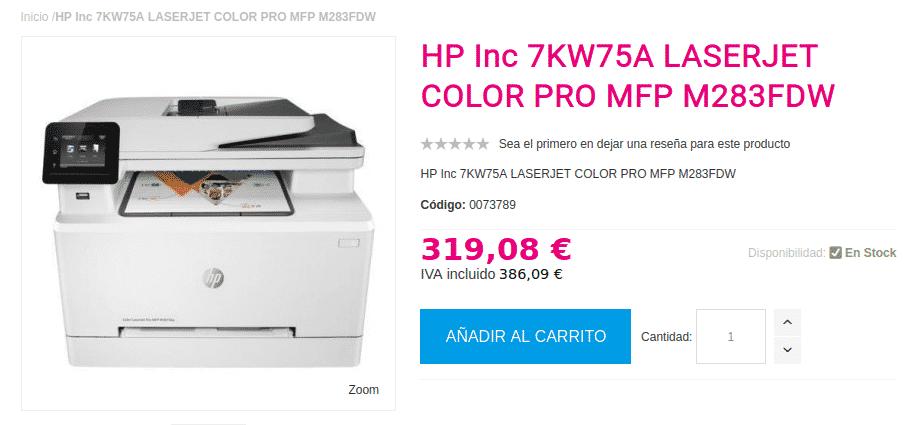 Precio HP LASERJET COLOR PRO MFP M283FDW