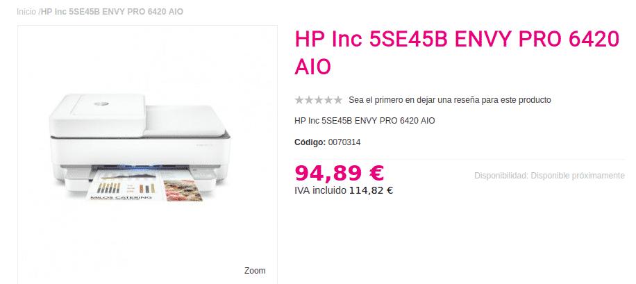 Precio impresora HP ENVY PRO 6420 AIO
