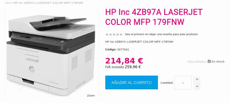Precio HP Color Laser 179fnw en A4toner